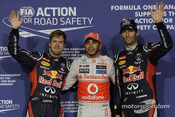 Pole winner Lewis Hamilton, McLaren Mercedes, second place Mark Webber, Red Bull Racing, third place Sebastian Vettel, Red Bull Racing