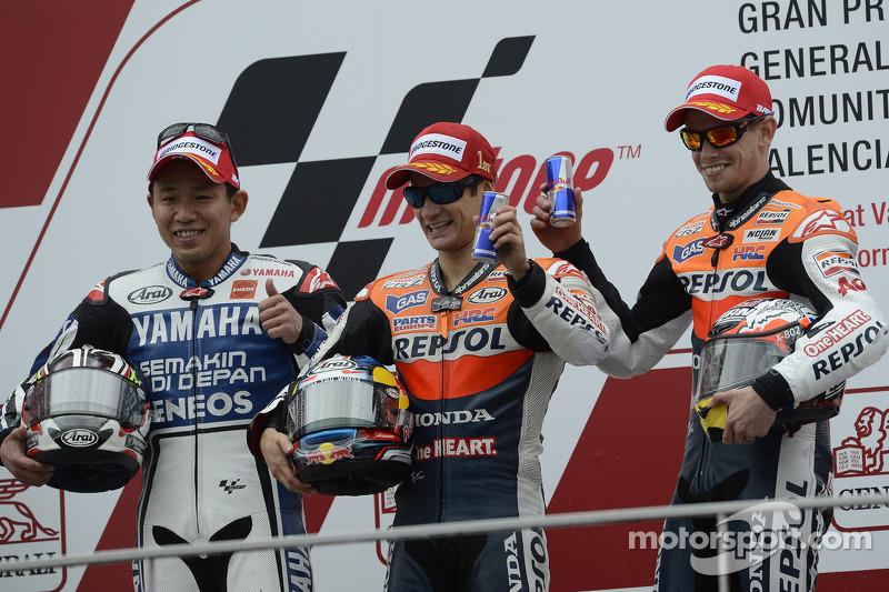 Podium: winner Dani Pedrosa, Repsol Honda Team, second place Katsuyuki Nakasuga, Yamaha Factory Racing, third place Casey Stoner, Repsol Honda Team