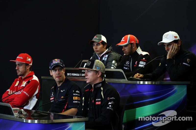 The FIA Press Conference, Sauber; Lewis Hamilton, McLaren; Pedro De La Rosa, HRT Formula 1 Team; Fernando Alonso, Ferrari; Sebastian Vettel, Red Bull Racing; Kimi Raikkonen, Lotus F1 Team