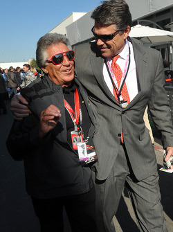 Mario Andretti and Texas governor Rick Perry