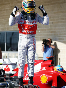 Race winner Lewis Hamilton, McLaren celebrates in parc ferme