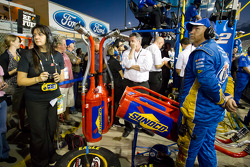 Pit area and team members for Brad Keselowski, Penske Racing Dodge in the closing laps of the race