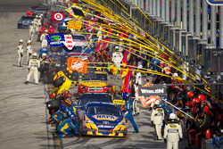 Pit stop for Martin Truex Jr., Michael Waltrip Racing Toyota