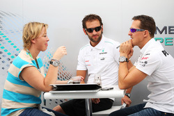 Michael Schumacher, Mercedes AMG F1 with his manager Sabine Kehm,