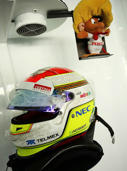 The helmet of Sergio Perez, Sauber