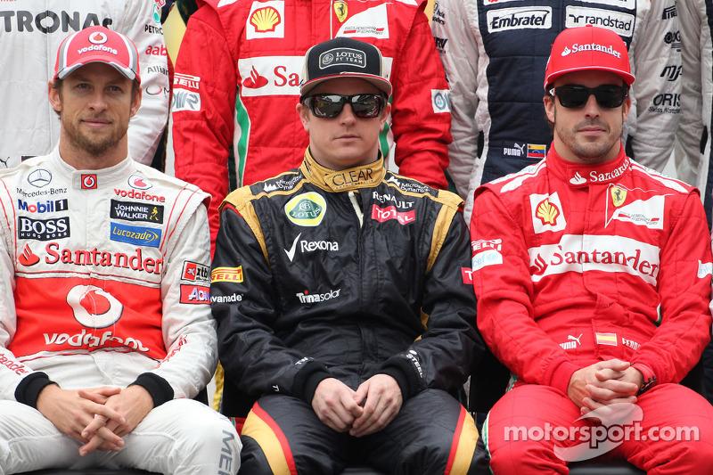Jenson Button, McLaren Mercedes, Kimi Raikkonen, Lotus F1 Team and Fernando Alonso, Scuderia Ferrari