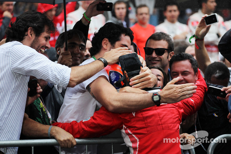 Felipe Massa, Ferrari celebrates his third position in parc ferme