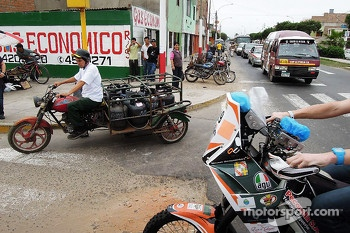 #119 KTM: Mikael Despontin on its way to scrutineering in the streets of Lima