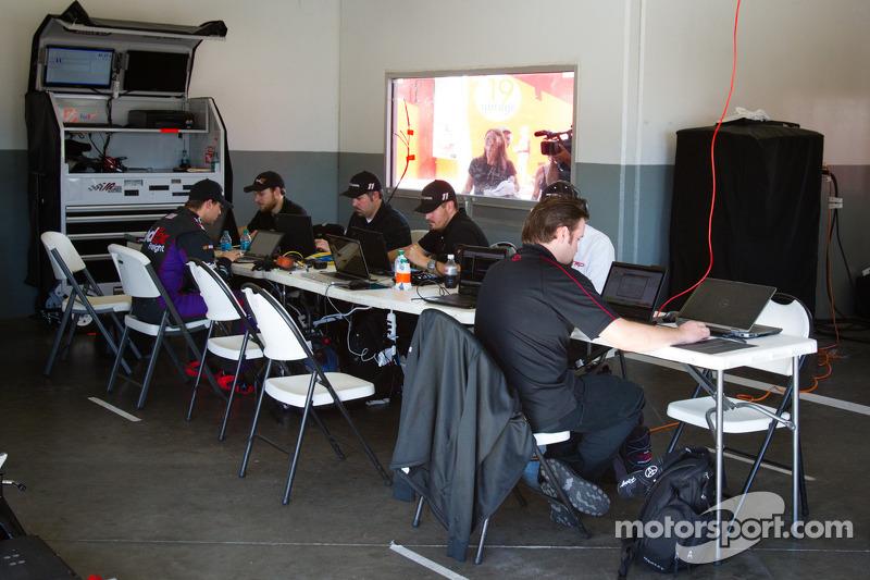 Joe Gibbs Racing Toyota technicians at work