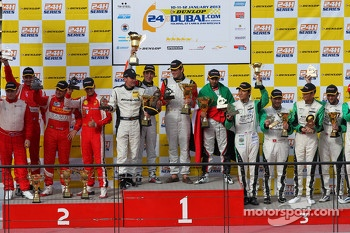 Podium: race winners Khaled Al Qubaisi, Bernd Schneider, Jeroen Bleekemolen, Sean Edwards, second place Lorenzo Carvalho, Lorenzo Case, Marco Cioci, Mika Salo, third place Frank Yu, Tomonobu Fujii, Darren Turner, Darryl O'Young