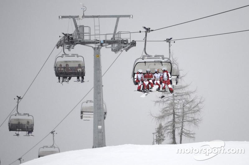 The Ducati team on the ski lift