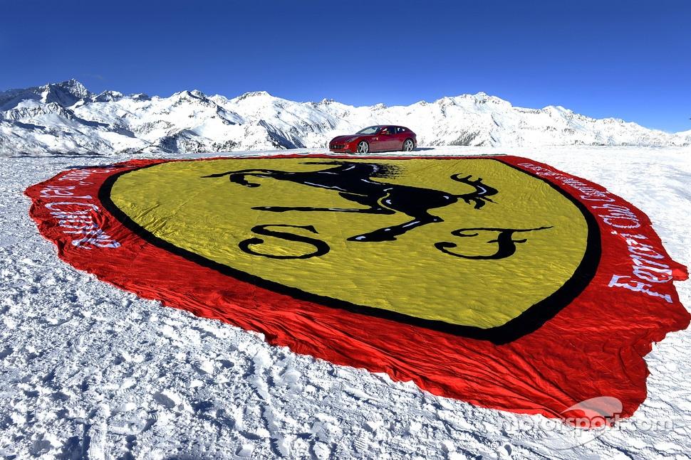 A giant Ferrari logo