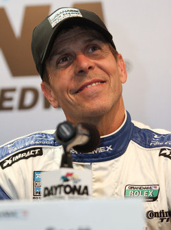 Scott Pruett celebrates his pole