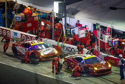 Pit stop for #61 R.Ferri/AIM Motorsport Racing with Ferrari Ferrari 458: Max Papis, Jeff Segal, Toni Vilander, Giancarlo Fisichella and #69 AIM Autosport Team FXDD with Ferrari Ferrari 458: Emil Assentato, Anthony Lazzaro, Nick Longhi, Mark Wilkins