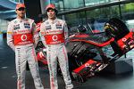 Jenson Button, McLaren with team mate Sergio Perez, McLaren