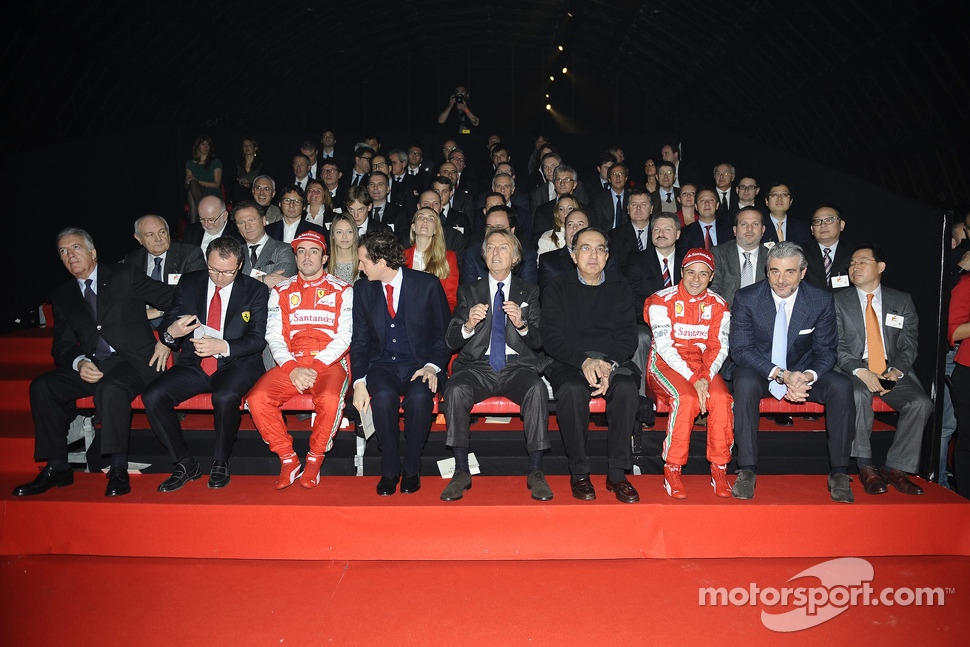 Piero Ferrari, Felipe Massa, Luca di Montezemolo, Fernando Alonso and Stefano Domenicali