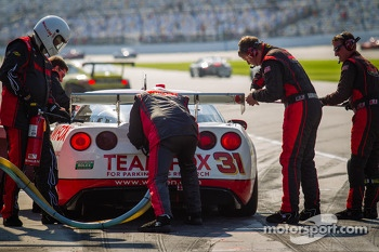 Pit stop for #31 Marsh Racing Corvette: Eric Curran, Boris Said, Lawson Aschenbach, Brandon Davis