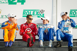 DP victory lane: class and overall winners Charlie Kimball, Juan Pablo Montoy, Memo Rojas and Scott Pruett