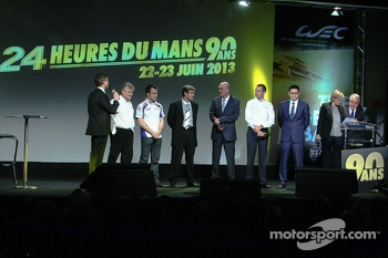 Representatives from Toyota Racing and Audi Motorsport on stage