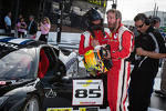 Race winner #85 Auto Gallery Ferrari 458: John Farano celebrates with #27 Ferrari of Houston Ferrari 458: Mark McKenzie