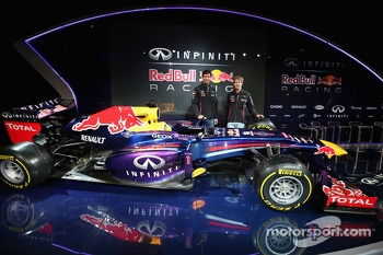 Mark Webber and Sebastian Vettel unveil the Red Bull Racing RB9