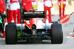 Max Chilton, Marussia F1 Team MR02 running flow-vis paint