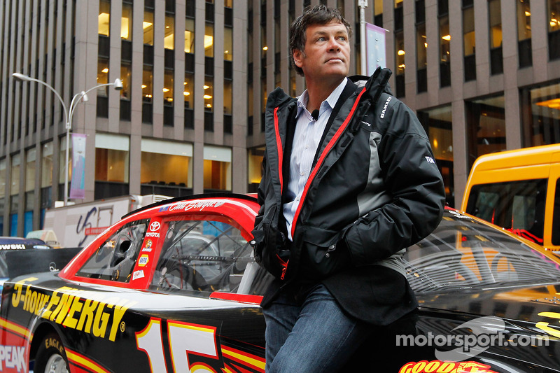 Michael Waltrip waits by Clint Bowyer's car in NYC