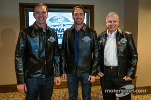 2013 Daytona 500 winner Jimmie Johnson, Hendrick Motorsports Chevrolet, with crew chief Chad Knaus and team owner Rick Hendrick