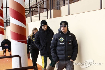 Kimi Raikkonen and Charles Pic arrive