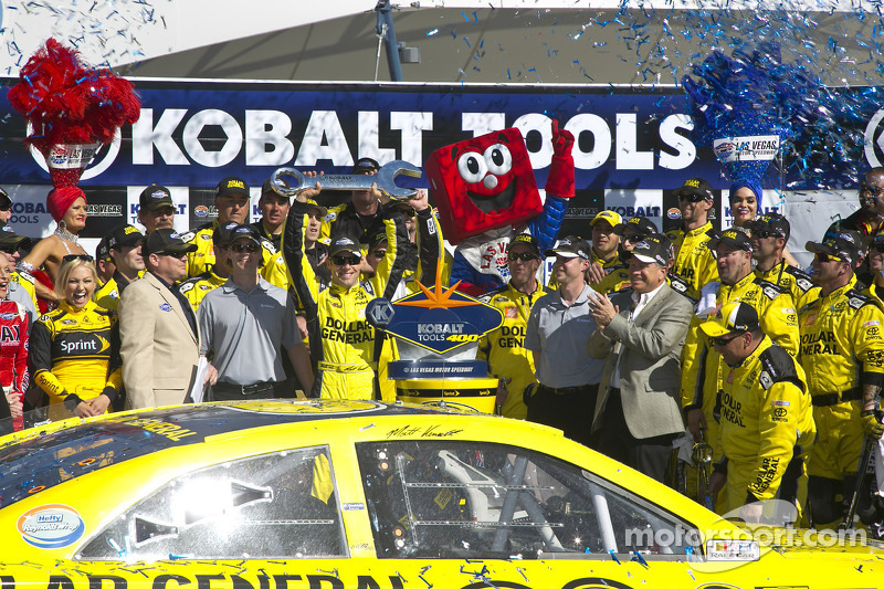 Victory lane: race winner Matt Kenseth, Joe Gibbs Racing Toyota celebrates