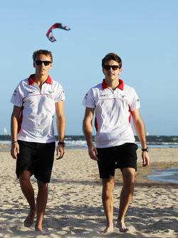 Max Chilton, Marussia F1 Team on the beach with team mate Jules Bianchi, Marussia F1 Team