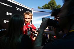 Max Chilton, Marussia F1 Team with the media
