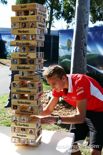 Max Chilton, Marussia F1 Team plays F1 driver Jenga with Sky Sports F1