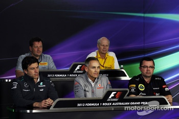 The FIA Press Conference, Pirelli Motorsport Director; Toto Wolff, Mercedes AMG F1 Shareholder and Executive Director; Martin Whitmarsh, McLaren Chief Executive Officer; Eric Boullier, Lotus F1 Team Principal