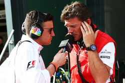 (L to R): Will Buxton, NBS Sports Network TV Presenter with Graeme Lowdon, Marussia F1 Team Chief Executive Officer