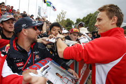 Max Chilton, Marussia F1 Team signs autographs for the fans
