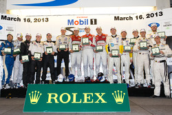 Class winners podium: PC winners David Cheng, Mike Guasch, David Ostella, P2 winners Scott Tucker, Marino Franchitti, Ryan Briscoe  P1 and overall winners Oliver Jarvis, Marcel Fässler, Benoit Tréluyer, GT winners Oliver Gavin, Tom Milner, Richard Westbro
