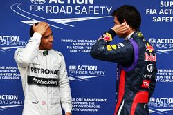 (L to R): Lewis Hamilton, Mercedes AMG F1 in parc ferme with Mark Webber, Red Bull Racing