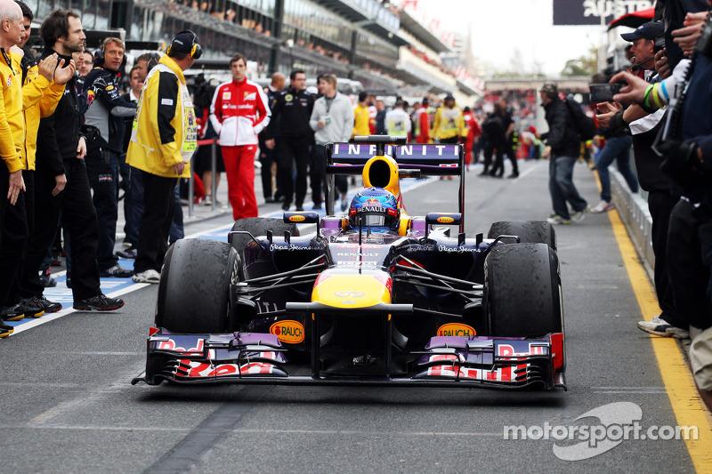 Sebastian Vettel, Red Bull Racing RB9 enters parc ferme
