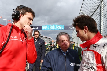 Jules Bianchi, Marussia F1 Team with Jean Todt, FIA President on the grid