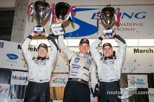 P2 podium: class winners Scott Tucker, Marino Franchitti, Ryan Briscoe