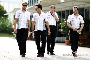 Jenson Button, McLaren with team mate Sergio Perez, McLaren and Gary Paffett, McLaren Test Driver