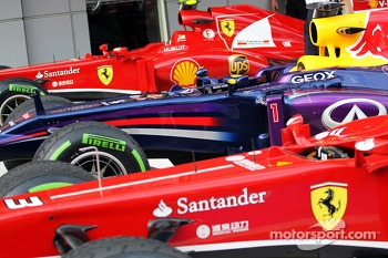 The top three cars in qualifying, Ferrari F138; Sebastian Vettel, Red Bull Racing RB9; Fernando Alonso, Ferrari F138