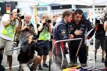 Sebastian Vettel, Red Bull Racing with Guillaume Rocquelin , Red Bull Racing Race Engineer