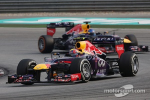 Mark Webber, Red Bull Racing RB9 leads team mate Sebastian Vettel, Red Bull Racing RB9