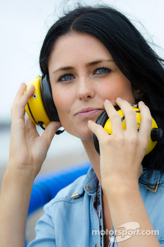 Kirsten Dee, girlfriend of James Hinchcliffe, watches the end of the race