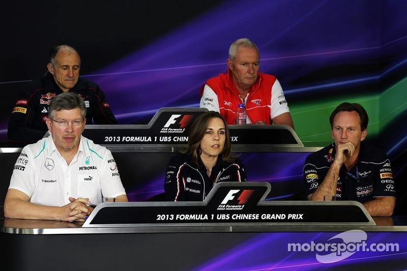 The FIA Press Conference, Scuderia Toro Rosso Team Principal; John Booth, Marussia F1 Team Team Principal; Ross Brawn, Mercedes AMG F1 Team Principal; Claire Williams, Williams Deputy Team Principal; Christian Horner, Red Bull Racing Team Principal.  12.0