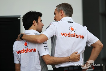 Sergio Perez, McLaren with Martin Whitmarsh, McLaren Chief Executive Officer