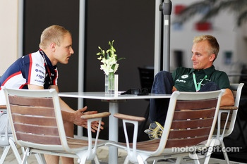 (L to R): Valtteri Bottas, Williams with Heikki Kovalainen, Caterham F1 Team Reserve Driver