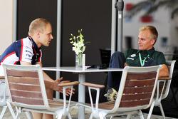 (L to R): Valtteri Bottas, Williams with Heikki Kovalainen, Caterham F1 Team Reserve Driver
